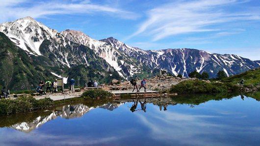 北アルプスと山上湖