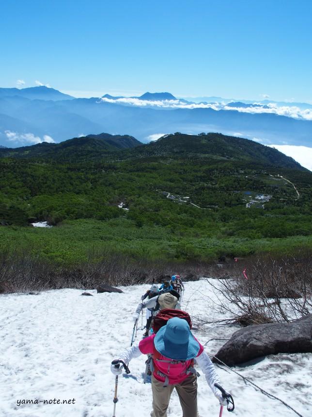 白馬乗鞍岳斜面 雪渓