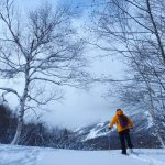 気持ち良い天気の里山スノーシュー