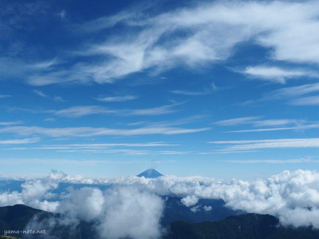 南アルプス北岳から観た富士山